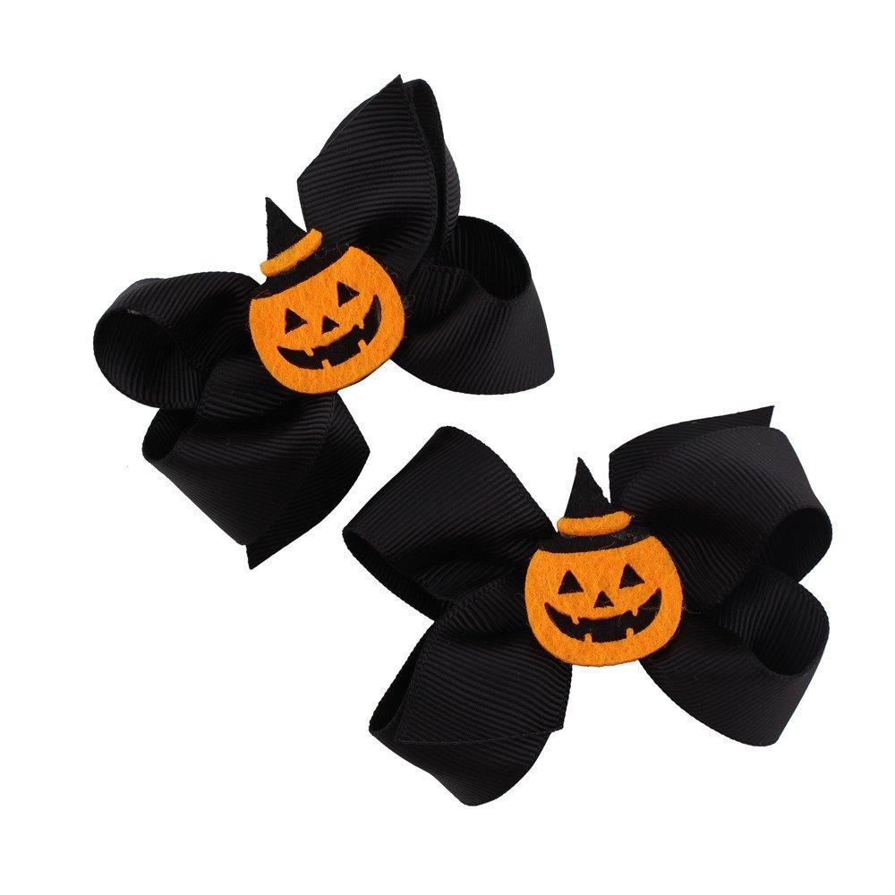 1 Pair Fashion Halloween Toddler Baby Kids Girls Bowknot Hairpin Headdress Hair Clip