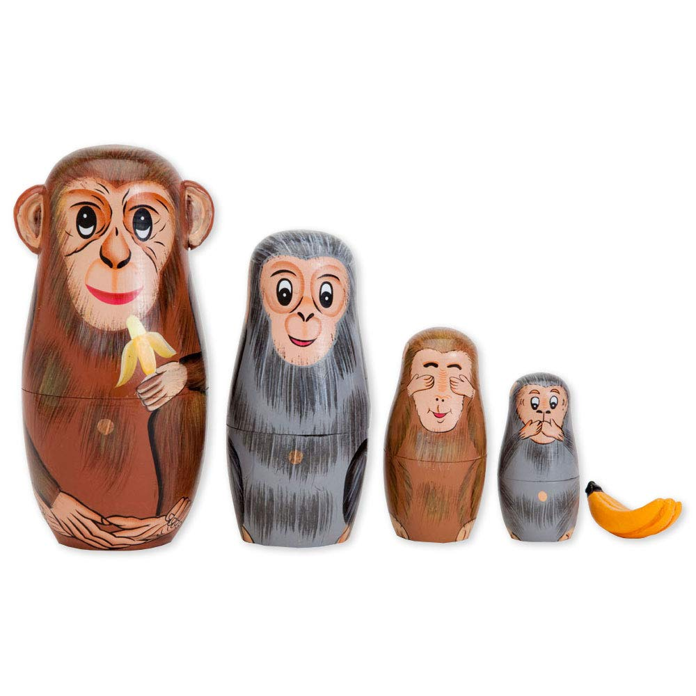 "Bits and Pieces - Nesting Monkeys - Hand Painted Wooden Nesting Dolls - Matryoshka - Set of 5 Dolls from 6"" Tall"
