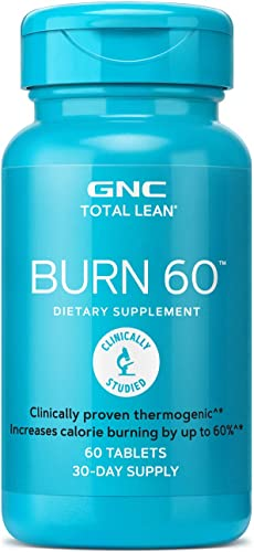 GNC Total Lean Burn 60 Thermogenic Fat Burner, Cinnamon, 60 Count, for Calorie Burning