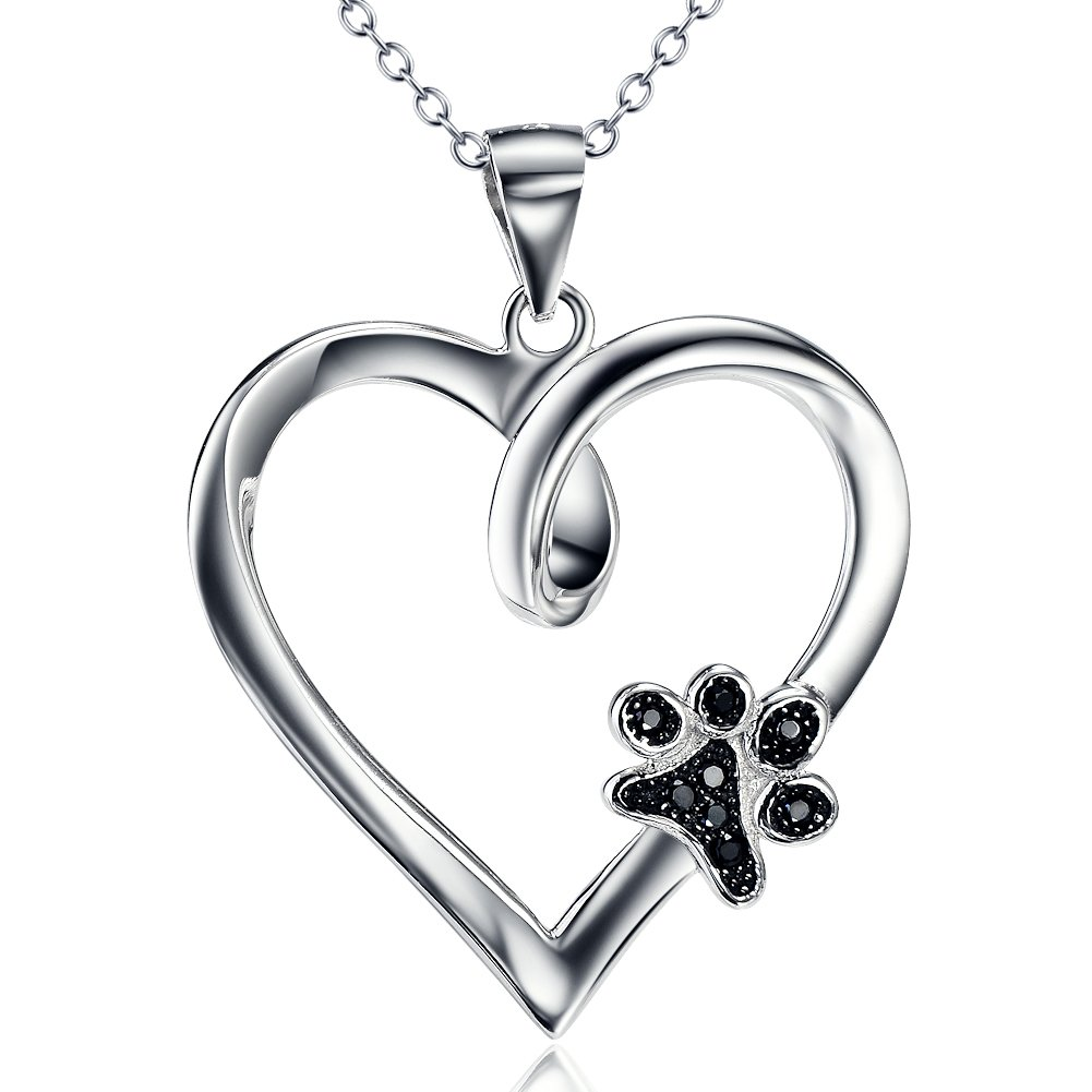 925 Sterling Silver Forever Love Heart Puppy Paw Pendant Necklace, Rolo Chain 18'' by SILVER MOUNTAIN (Image #1)