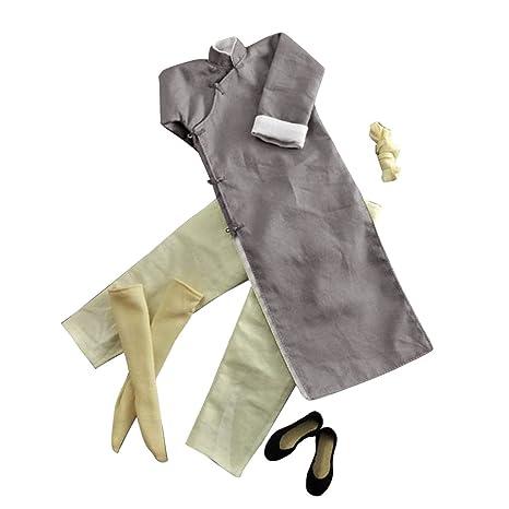 4fc1ea95ad Amazon.com  MonkeyJack 1 6 Gray Robe Costume Yip Man Kung Fu Bruce ...