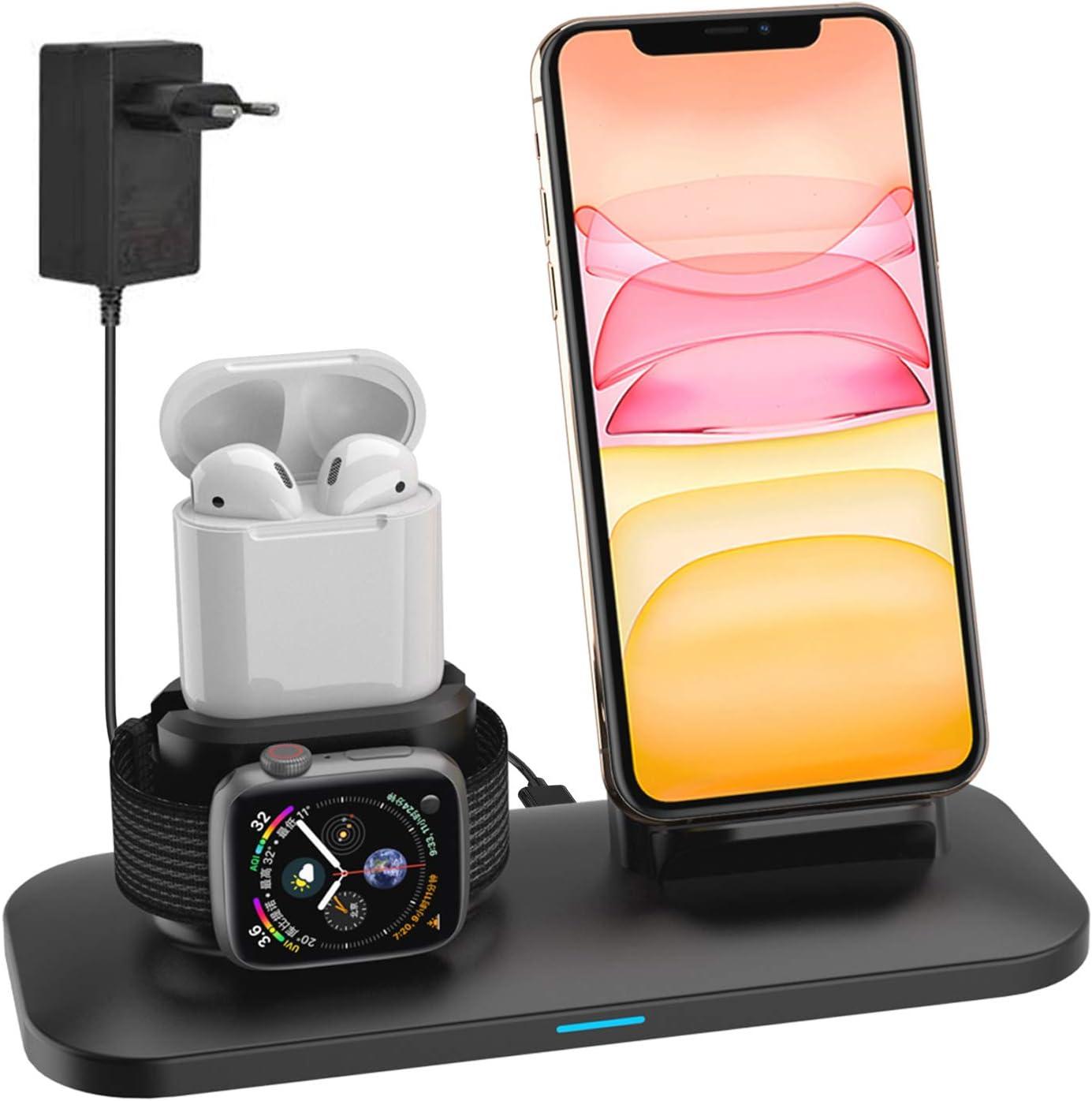 Soporte de Carga para A pple Watch, Estación de Carga Rápida Qi Inalámbrica 3 en 1 Soportes de Carga de para iPhone11 pro X XS MAX 8 Plus Teléfonos Qi-Enabled AirPods e iWatch Series5/ 4/3/2/1- Negro