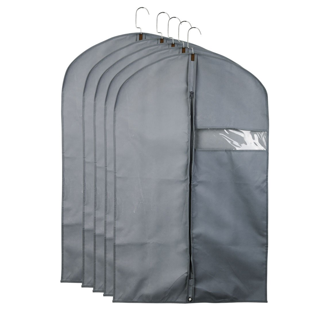 uxcell Pack of 5 Gray Breathable Garment Bags Storage Travel,Suit Carriers, Garment Covers Folding Suits, Dresses, Linens, Clothes Storage Clear Window,40'' x 24''(LW)
