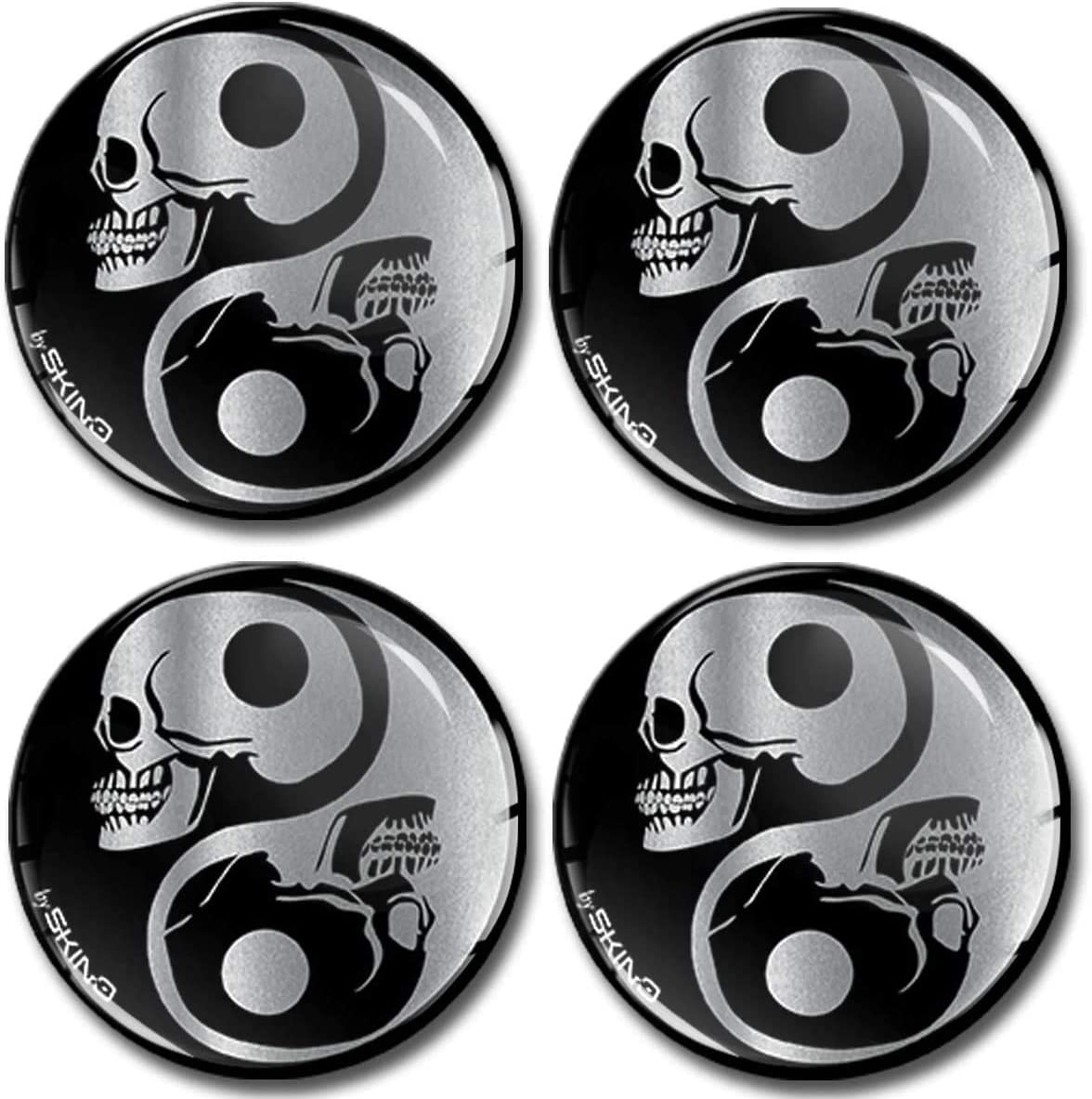 SkinoEu/® 4 x 50mm 3D Silicona Adhesivo Pegatinas Stickers Universal Tapas de Rueda de Centro Tapacubos para Coche Auto Tuning Skull Calavera Cr/áneo Yin Yang S/ímbolo Plata A 8250