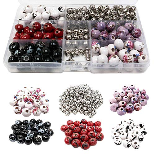 Metal Bead Kit - 100 PCs Porcelain Bead Assortment & 120 Filigree Silver Beads Container Kit with Elastic Cord - Premium Quality Jewelry Making Finding Supplies for Adults - Great for Bracelets, Necklaces, Crafts (1)