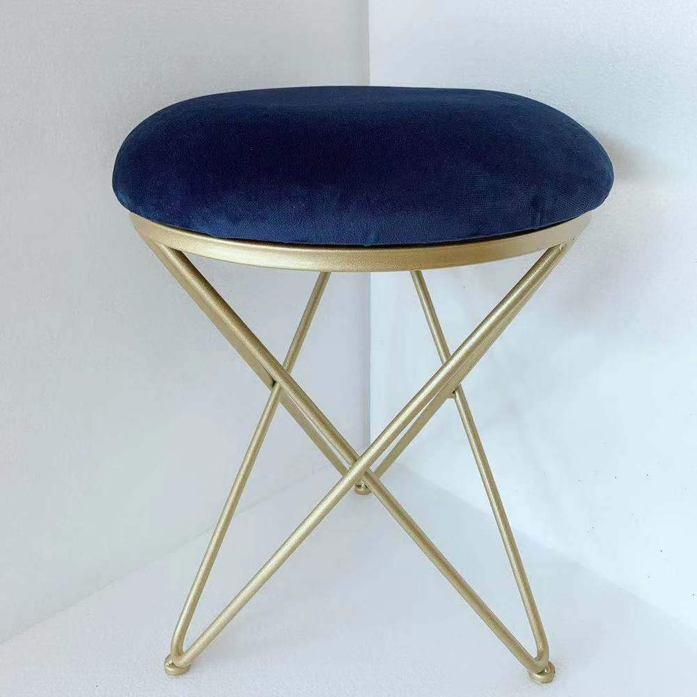 bluee 14x18inch Iron Upholstered Vanity Stool, Round Metal Padded Foot Stool Velvet Sponge fiilled Foot Rest Living Room Make up Bench Stool -Grey 14x18inch