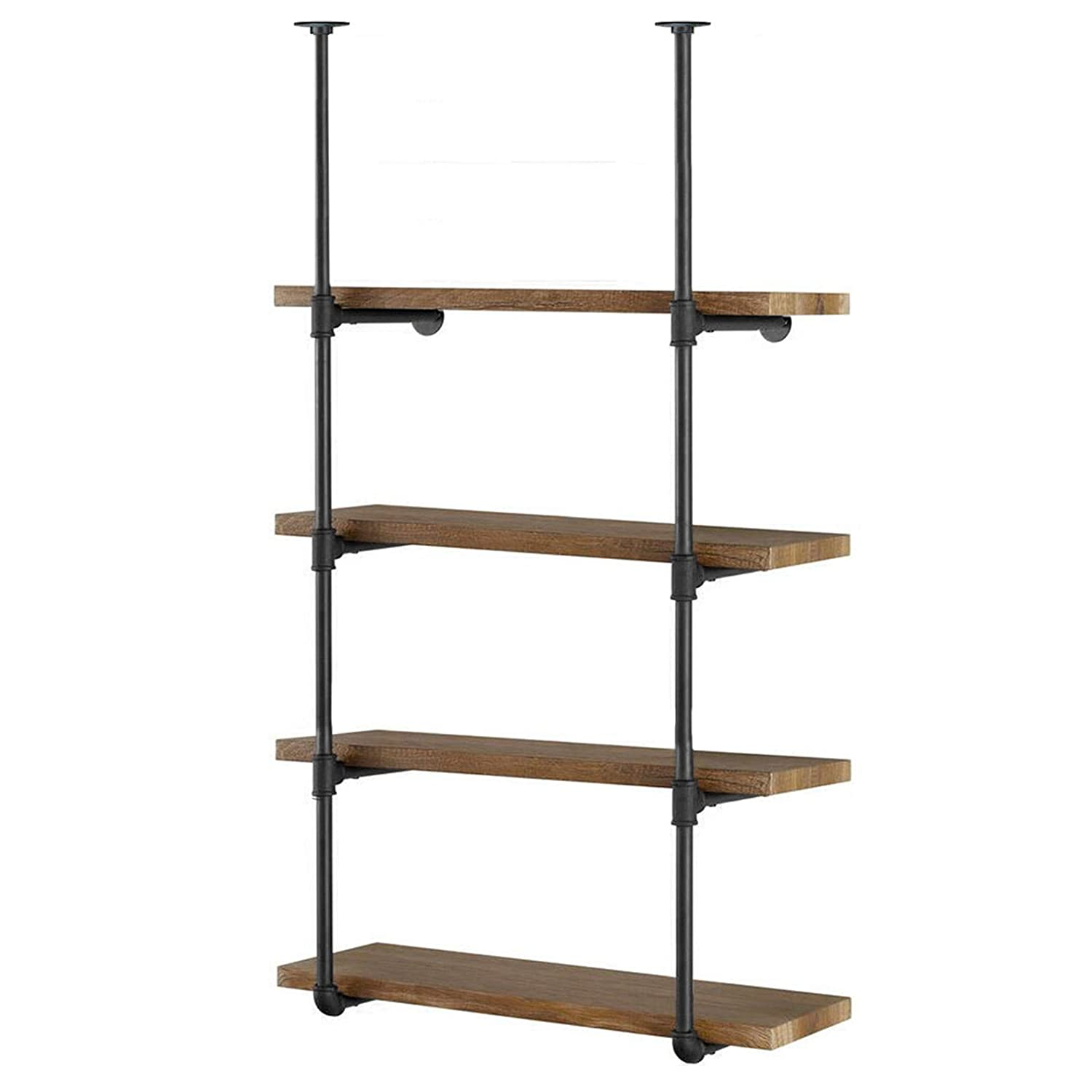 "Yuanshikj 2Pc (56"" Tall) (12"" deep) Industrial Wall Mount Iron Pipe Shelf Shelves Shelving Bracket Vintage Retro Black Open Bookshelf Bookcase DIY Storage Office Kitchen (2 Pcs 4Tier Hardware only)"