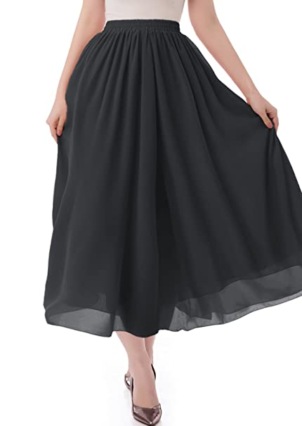 b0adbe938 malishow Women's Long Chiffon Skirt Pleated Retro Beach Skirts A-line Maxi  Dress Black S