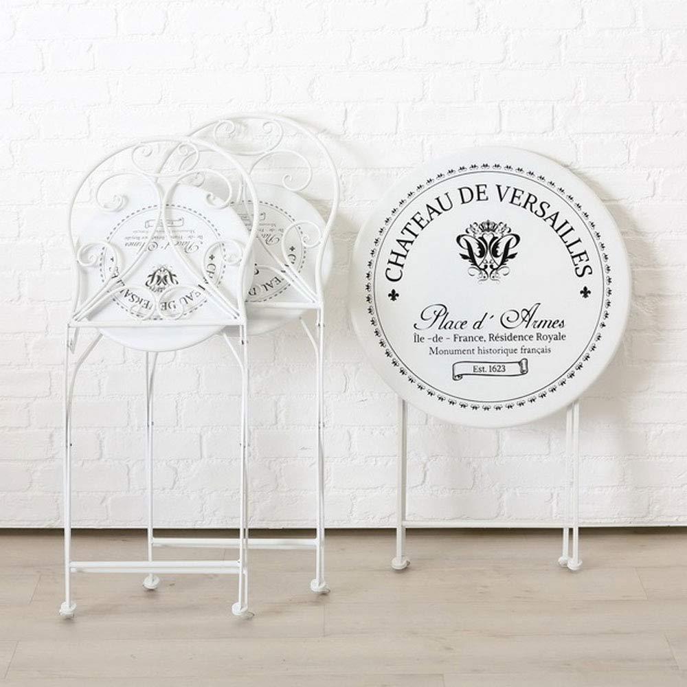 LB H&F Gartengarnitur 1x Tisch rund Gartenmöbel + 2 x Stühle Vintage Paris Weiss Metall klappbar Set