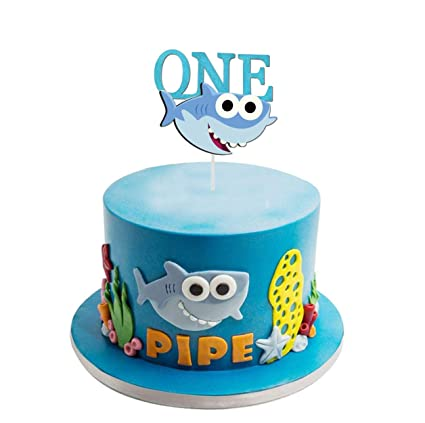 Super Amazon Com Aby Shark One Birthday Cake Topper For 1St First Funny Birthday Cards Online Alyptdamsfinfo