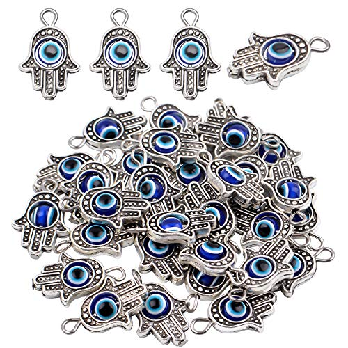 Hamsa Hand Beads Frame Charms, 30 pieces of Hamsa Evil Eye Pendant Hand of Fatima Symbol Charms for DIY Necklace Bracelet (Eye Symbol)