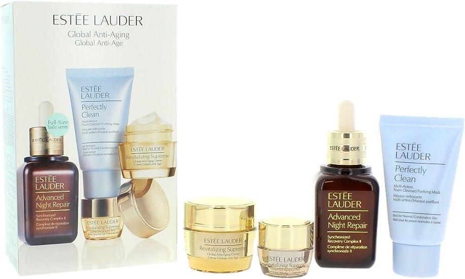 Estée Lauder Serum de Noche + Crema Hidratante Anti Arrugas + Tratamiento Contorno de Ojos + Espuma Limpiadora Facial Revitalizing Supreme - 1 Pack: Amazon.es: Belleza