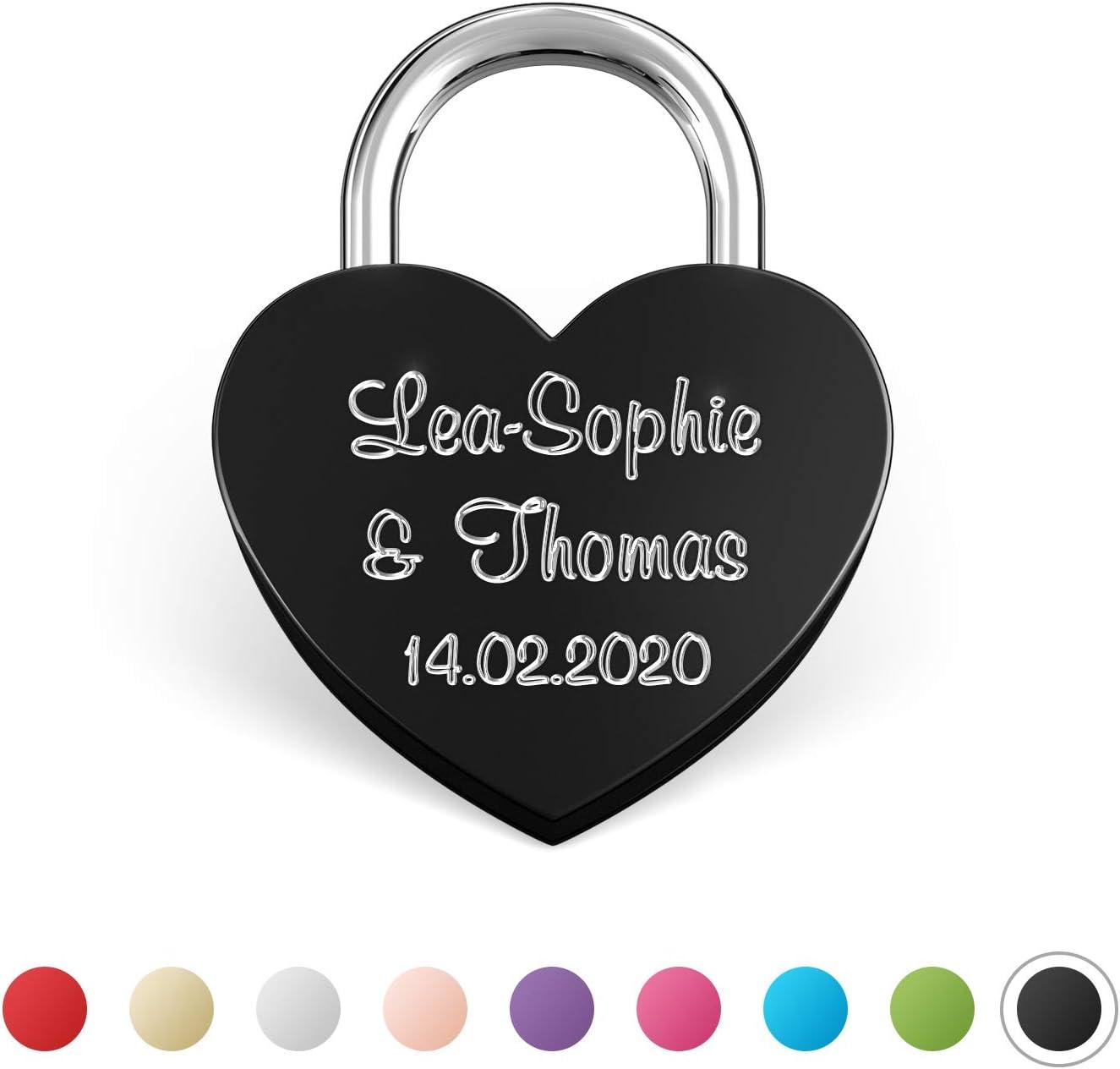 Personalised Engraved Black Square Large Padlock Love Lock /& Organza Bag
