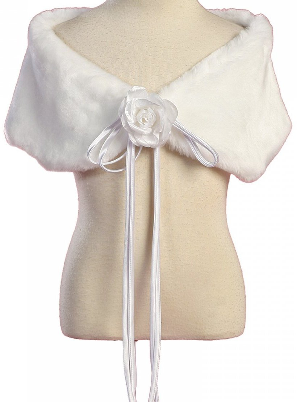 Little Girls Soft Furry Elegant Fur Shawl Shoulder Wrap Flower Special Occasion White 6 (K23D2)