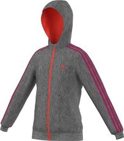 adidas YG ESS 3S FZ BR - Sudadera para niña, Color Gris/Rojo,