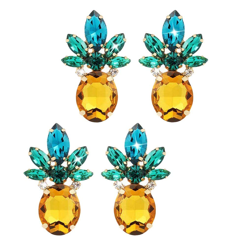UPLEYING 2 Pairs Crystal Earrings Rhinestone Earrings Pineapple Earrings Women Girls