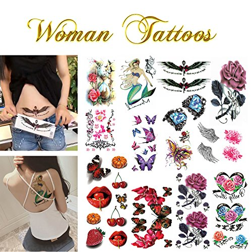 Realistic Ink Temporary Tattoos Kit- for Woman and Girls- 16 Colorful Sheets by Companion Company by Companion Company