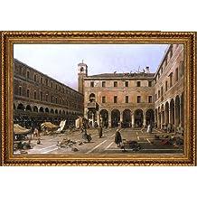 """Canaletto Campo di Rialto - 18.25"""" x 27.25"""" Framed Premium Canvas Print"""