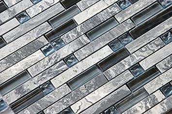 Soapstone Blues Gd09 Gray Marble Stone Blue Black Glass Blend Backsplash Tiles For Kitchen