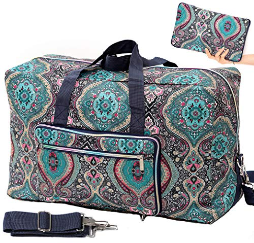 Foldable Travel Duffle Bag for Women Girls Large Cute Floral Weekender Overnight Carry On Bag for Kids Checked Luggage Bag (A-Green Floral)