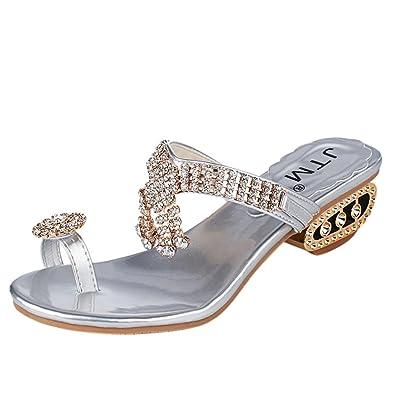 Zarupeng Damen Sandalen Flip Flop Fashion Strass Keile Schuhe Kristall Pantoffel/Schuhe mit Pantoffeln Sommer...