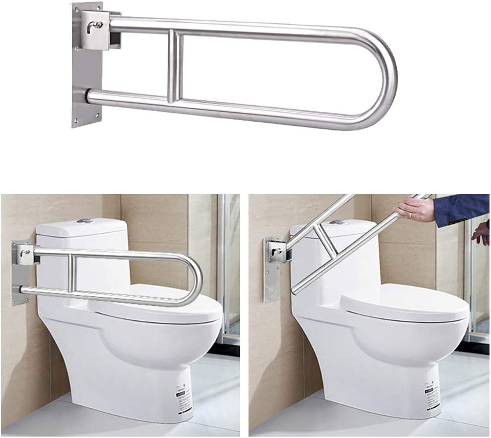Grab Bars for Bathroom Toilet Safety Rails Handicap 30 Inch Shower Grab Bar Flip Up Toilet Tub Safety Bar for Elderly Handicapped Disabled Hand Rails Stainless Steel Bathtub Support Handles Assist