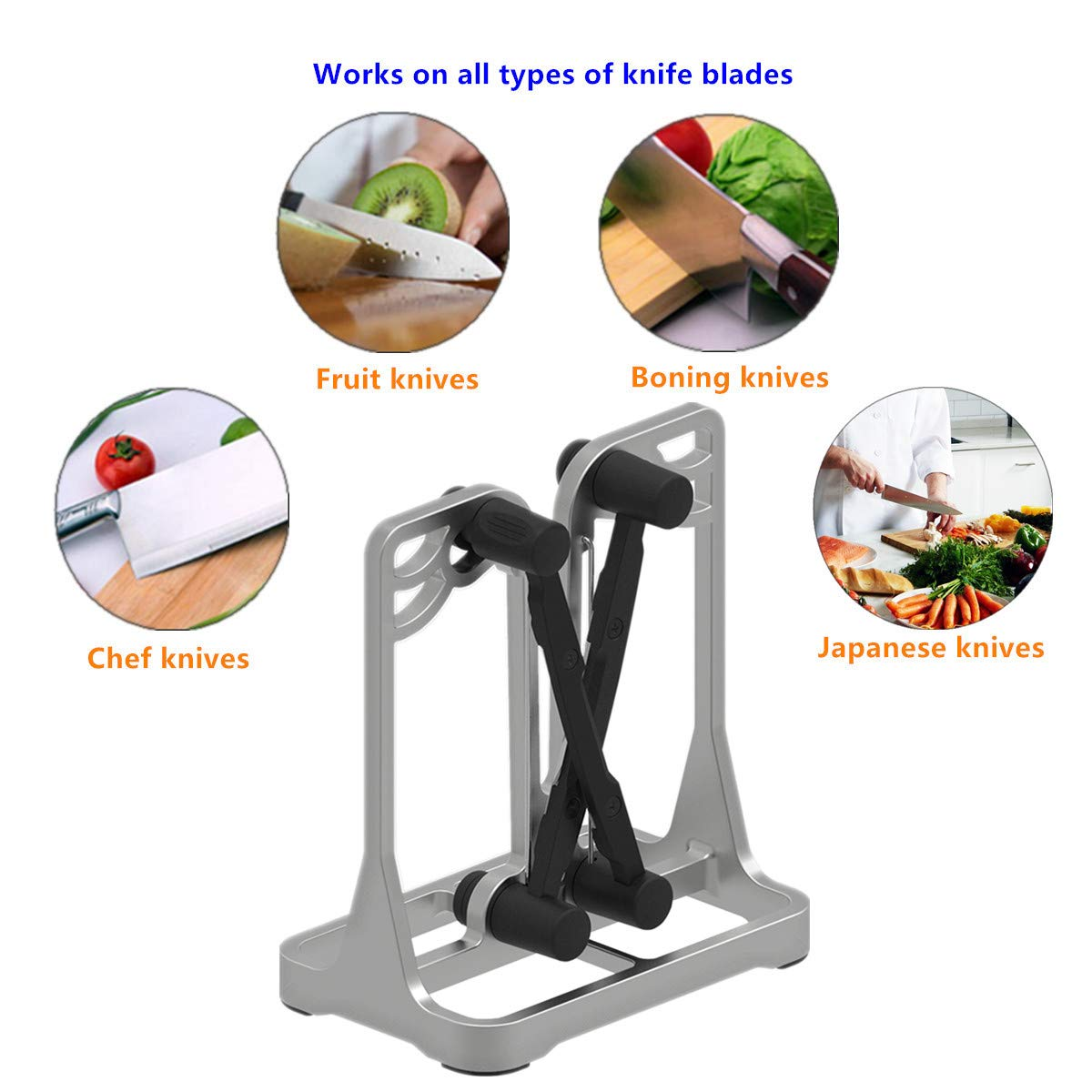 Knife Sharpener - Upgrade Made of Full Metal Bracket - Sharpens & Hones & Polishes Beveled Blades, Standard Blades, Chef's Knives - Safe & Easy to Use Kitchen Tools by Ehoyal by Ehoyal (Image #4)