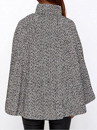 Clothink Women Gray Stand Collar Asymmetric Zipper Front Cape Coat