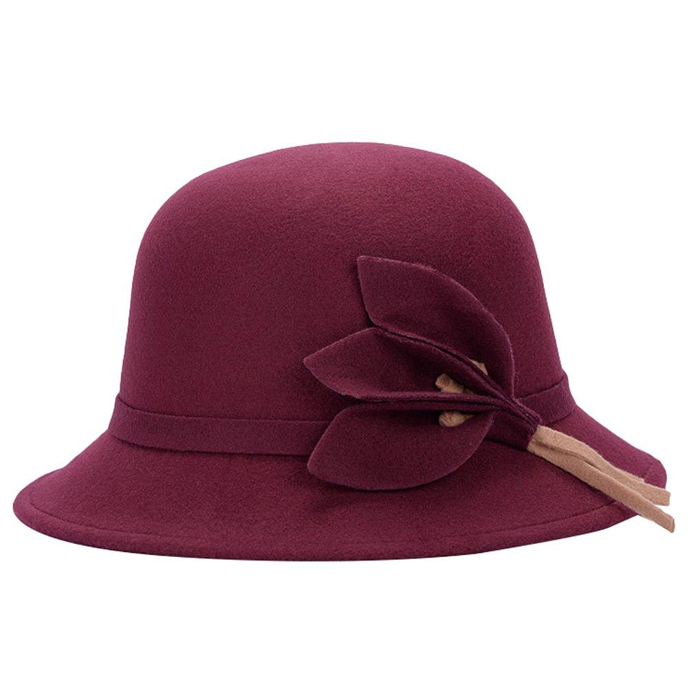 MatchLife Elegant Women's Vintage Bowknot Winter Hat Warm Wedding Bowler Hat style 4 burgundy