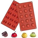 AMZBY Moldes de Silicon Esfera con 15 Cavidades, Semiesfera Moldes de Silicona para Chocolate, Pasteles, Gelatinas y Mousse d