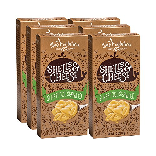 Organic Blue Cheese (Shell Pasta Infused With Superfood Seaweed 4.7oz Classic Cheddar-Cheesy Taste Plus Seaweed Benefits, Exceptionally Fulfilling, Kid Approved)
