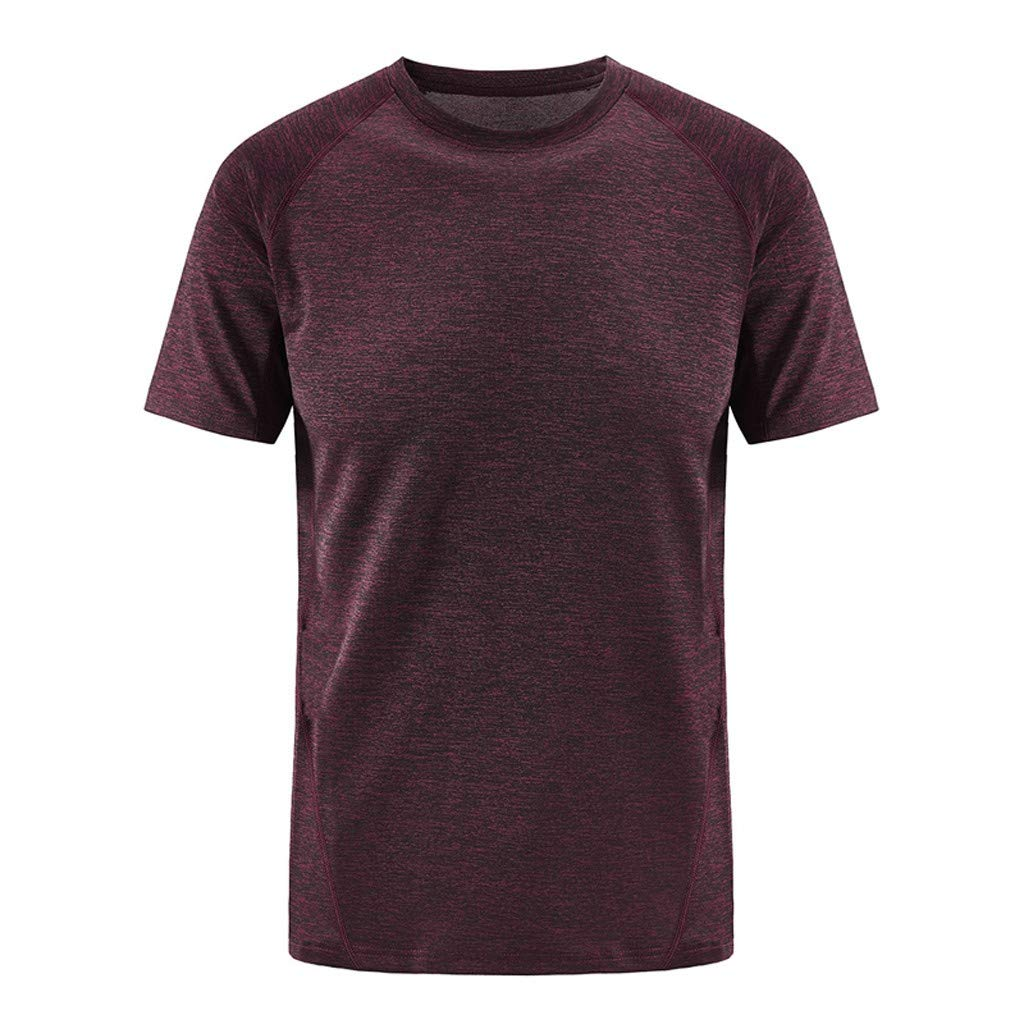 Mens Summer Sport Fast-Dry T-Shirts Casual O-Neck T-Shirt Fitness Breathable Top Blouse Beautyfine