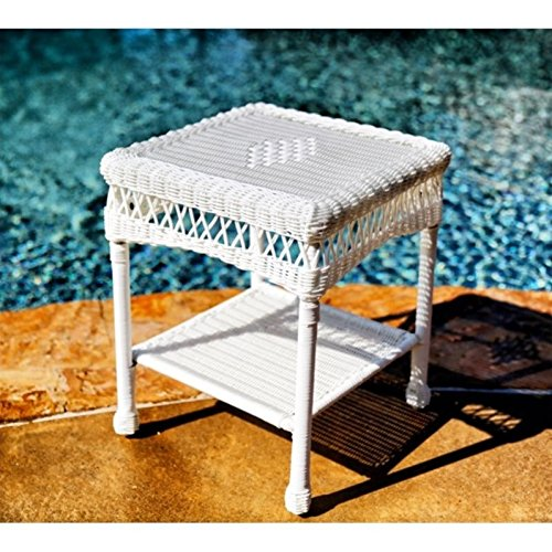 Wicker Outdoor Side Table - Brown Resin Wicker