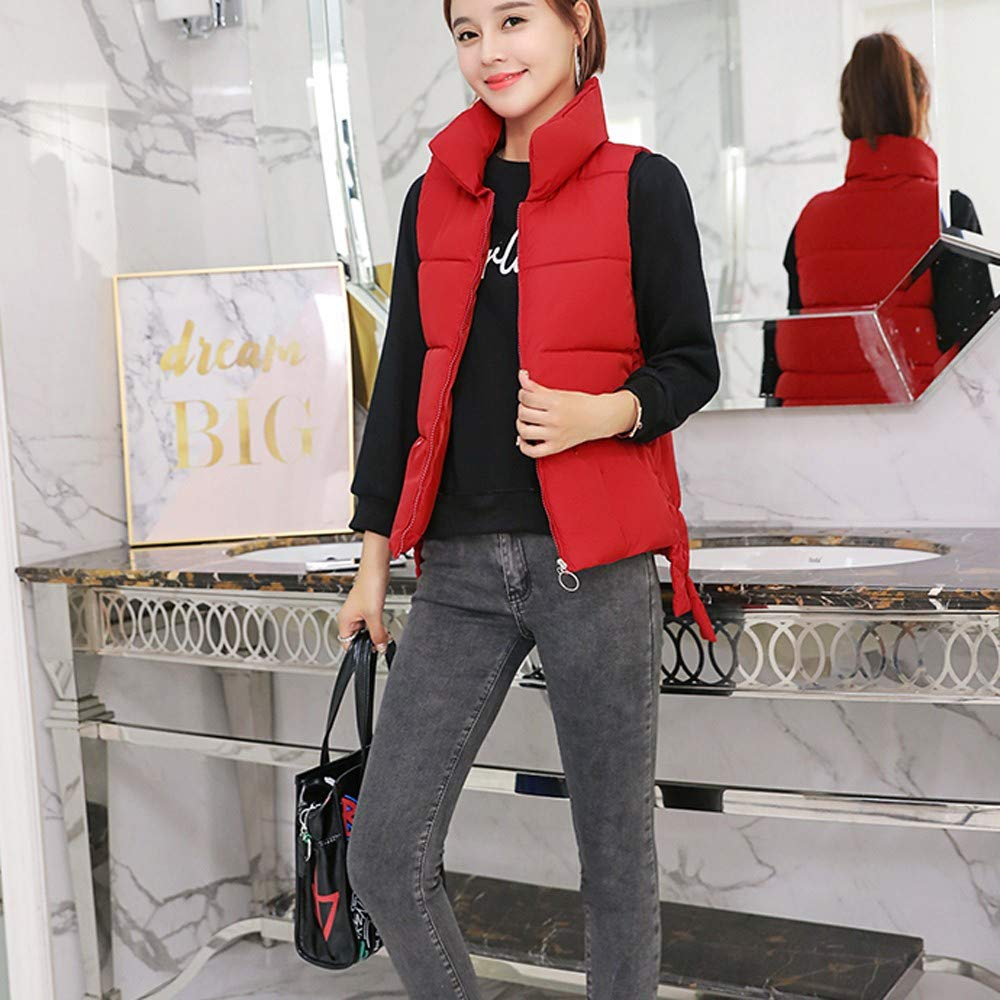 Amazon.com: AOJIAN Women Jacket Sleeveless Outwear Vest Slim Stand Collar Puffer Pure Color Zipper Coat: Clothing