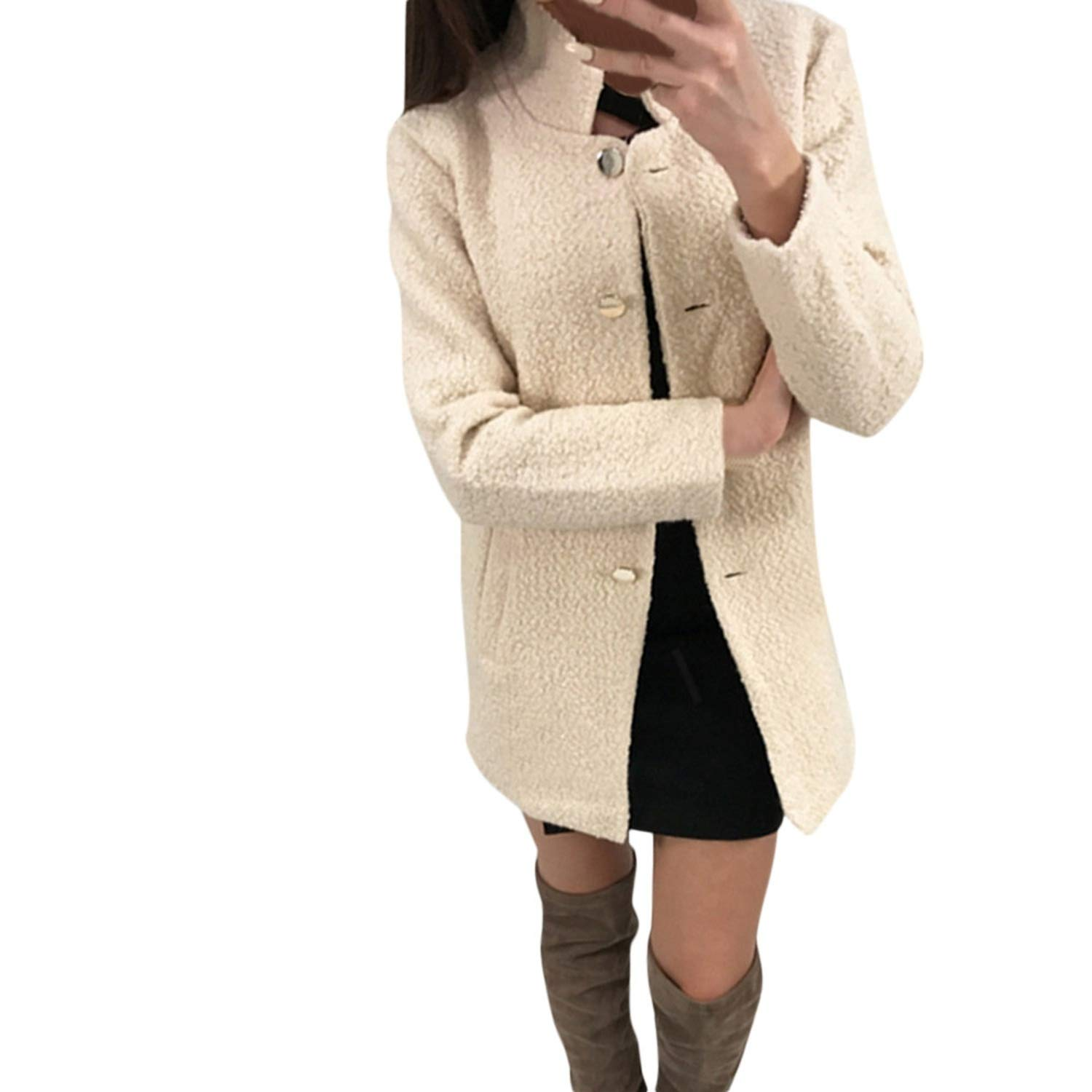 Amazon.com: Sexy Stores 2019 Winter Coat Women Solid Single Breasted Notched Fluffy Pocket Jackets Outwear Coat: Clothing