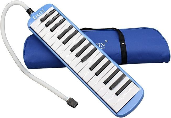 Melódica de 32 teclas, un instrumento musical ideal de regalo para los amantes de la música principiantes, con bolsa de transporte, azul (azul)