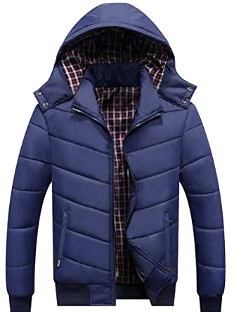b0f5a4bac9c GenericMen Winter Plus Size Puffer Coats Hooded Thicken Padded Warm Down  Jacket at Amazon Men s Clothing store