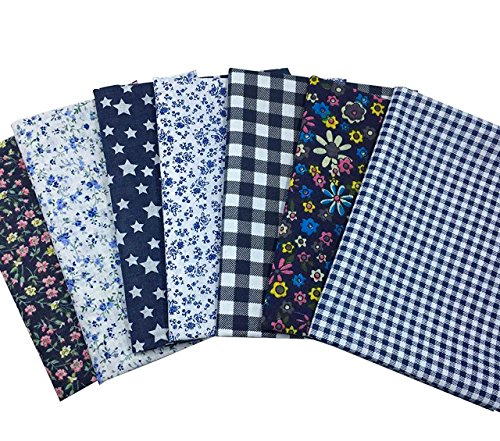 Quilting Fabric, Misscrafts 7pcs 50 x 50cm Cotton Blending Textile Craft Fabric Bundle Fat Quarter Patchwork Pre-Cut Quilt Squares for DIY Sewing Scrapbooking Dot Floral Pattern (Navy Blue)