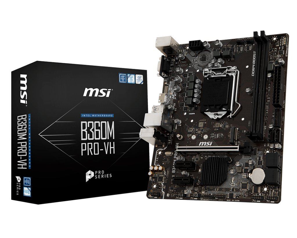 MSI Pro Series Intel Coffee Lake B360 LGA 1151 DDR4 Onboard Graphics Micro  ATX Motherboard (B360M PRO-VH)