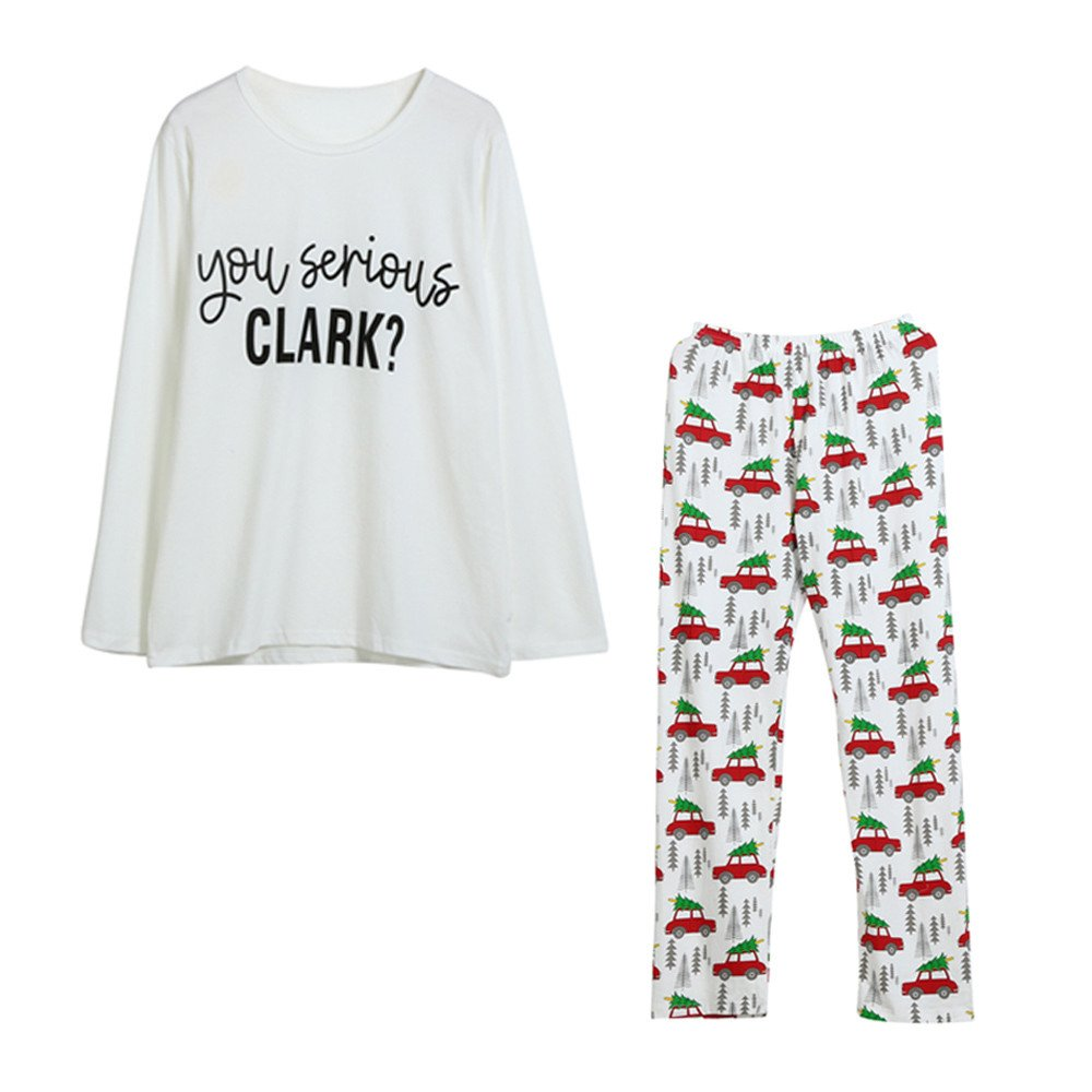 50510ce12ac Amazon.com  Yalasga Family Christmas Pajama Set for Adult Kids Baby-Long  Sleeve T Shirt Tops Pants  Clothing