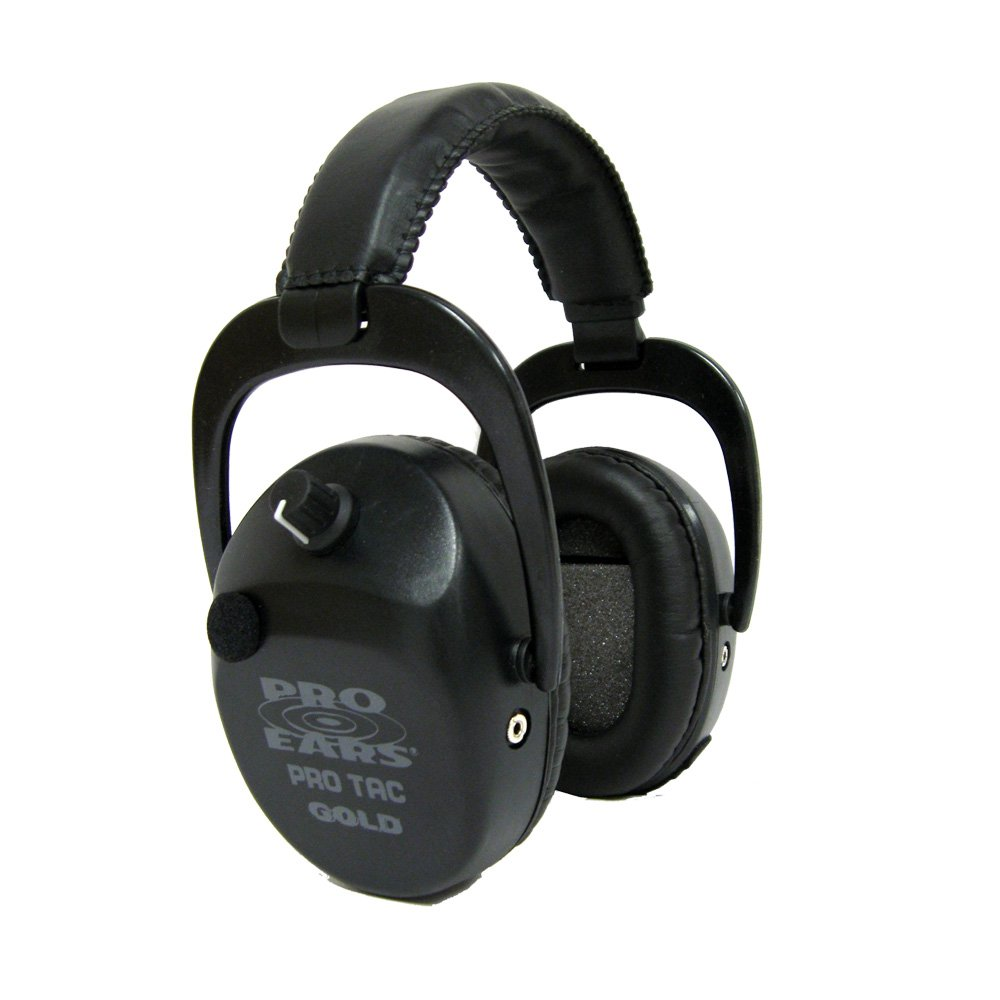 Pro Ears - Pro Tac SC Gold - Military Grade Hearing Protection and Amplification - NRR 25 - Ear Muffs - Lithium 123a Batteries - Black by Pro Ears