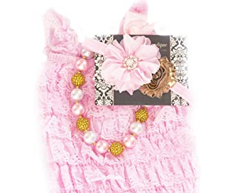 637ac07b2cd Baby Girl Lace Romper Set- Baby Birthday Outfit Photo Prop by Pretty Baby  Bowtique (