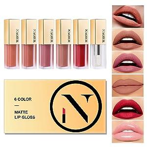 NAQIER Matte Velvety Lip gloss Set, 6PCS Nude liquid lipstick Moisturizer Smooth, Waterproof LipGloss with clear lip gloss for women