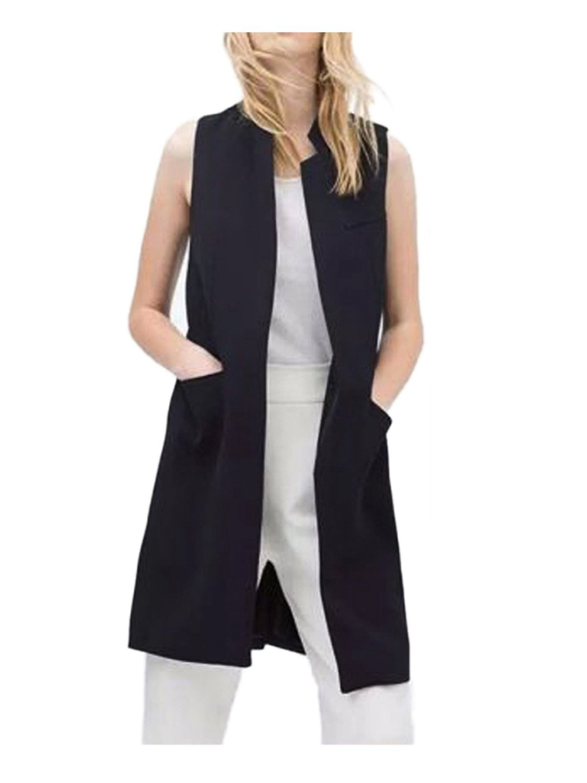 Women Solid Mandarin Collar Sleeveless Slim Waistcoat Long Suit Vest Black L