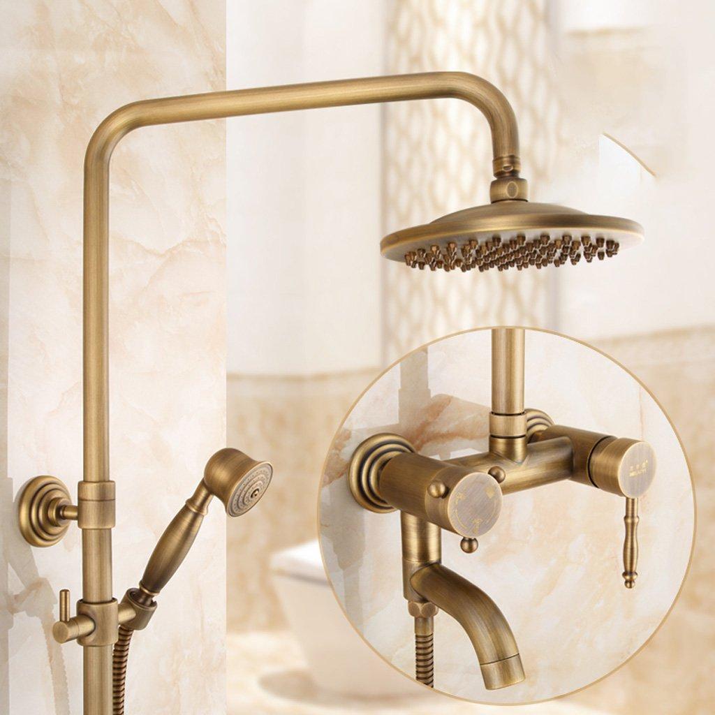 シャワーセットアンティーク銅レトロバスルームシャワーセットシャワーヨーロッパのハンドシャワー蛇口ホットシャワーシャワーバスルーム、ブロンズ B079GC3D6C
