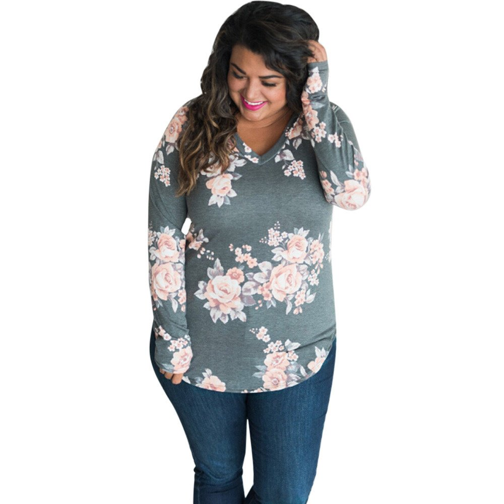 Women Floral Print Long Sleeve Tops Casual V Neck Fashion Shirts Blouse Tee Pullover Tops for Women! Paymenow Clearance