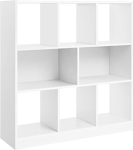 VASAGLE Librería de Madera con Cubos y estantes Abiertos, Estantería para Libros Independiente, para Sala de Estar, Dormitorio, Habitación de niños y ...
