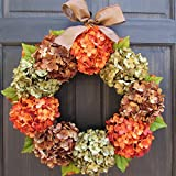 Fall Thanksgiving Hydrangea Wreath for Front Door Decor; Brown, Orange Rust and Green; Small - Extra Large Sizes