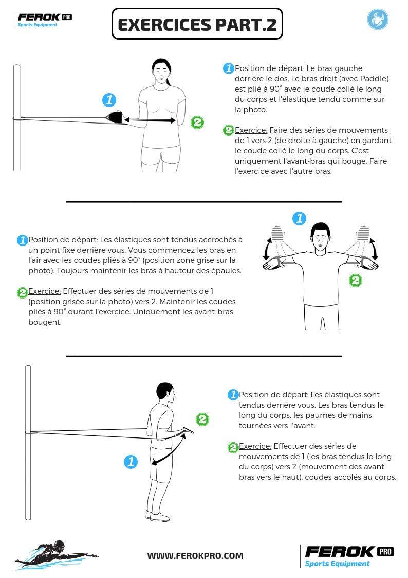 b36d2f6a13f9 Ferok Bande de Résistance Bande Elastique Fitness Bande Elastique Natation  avec Paddles Bande d exercice Musculation 2 Niveaux Résistance - Adapté  pour ...
