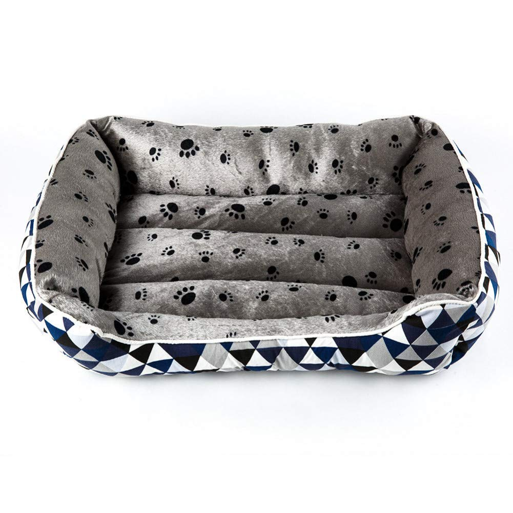 bluee L 65x55x18cm CZHCFF Dog bed cat pet kennel sofa warm cotton cat pet bed kennel large mat small dog